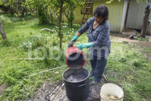 Färben von Schafwolle mit Schlamm (Chile, Chol-Chol) - lobOlmo Fair-Trade-Fotoarchiv