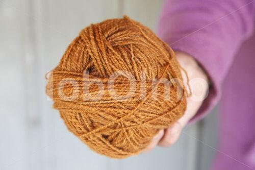 Mit Moos gefärbte Schafwolle (Chile, Chol-Chol) - lobOlmo Fair-Trade-Fotoarchiv