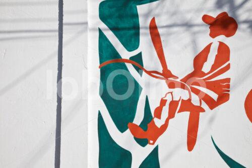 Wandgemälde Latexsammler (Mexiko, Chicza) - lobOlmo Fair-Trade-Fotoarchiv